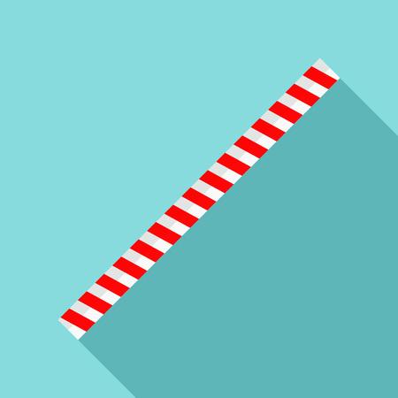 Striped drink straw icon, flat style