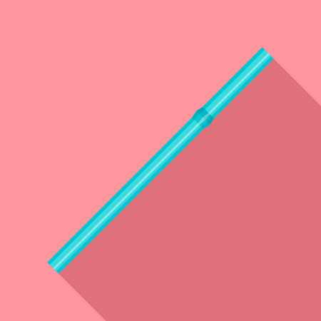 Green drink straw icon, flat style