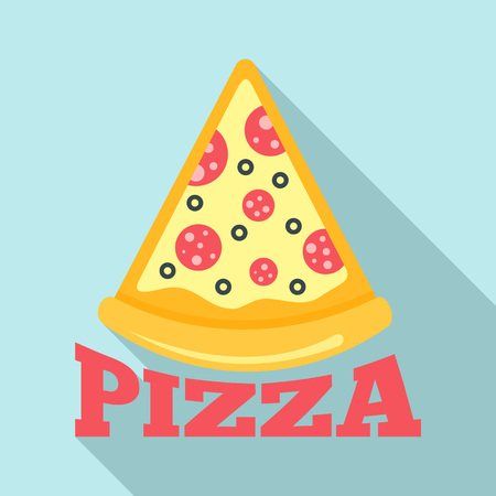 Pizza salami slice  flat style Stock Photo