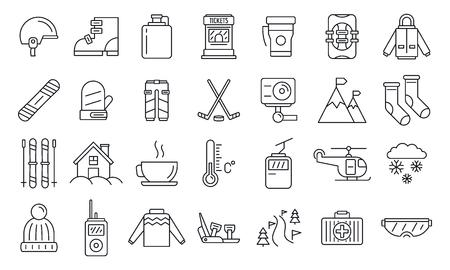 Holiday ski resort icon set, outline style
