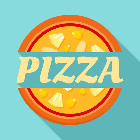 Pizza label   flat style
