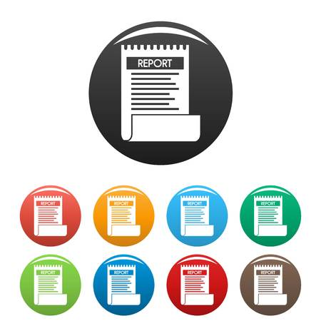 Bill paper report icons set color