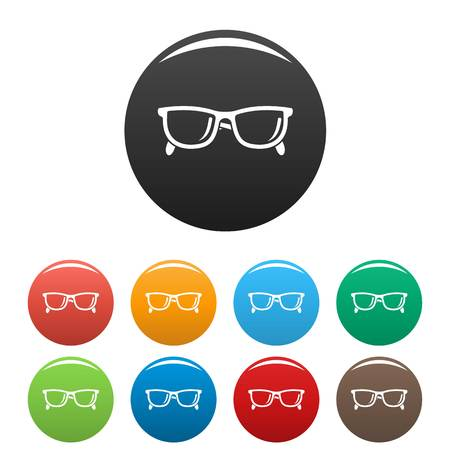 Accounting glasses icons set color