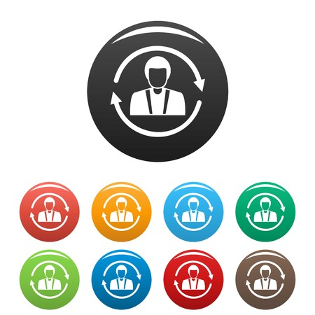 Customer retention icons set color