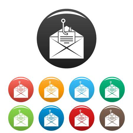 Phishing personal mail icons set color Stock Photo