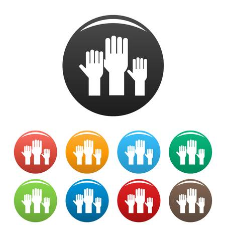 Vote hands icons set color Stock Photo