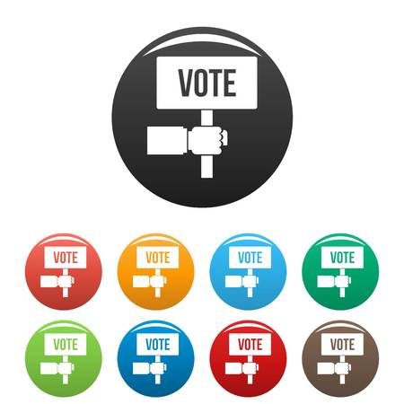 Vote candidate banner icons set color