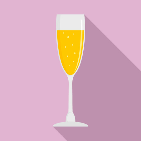 Full champagne glass icon. Flat illustration of full champagne glass vector icon for web design Stock Illustratie