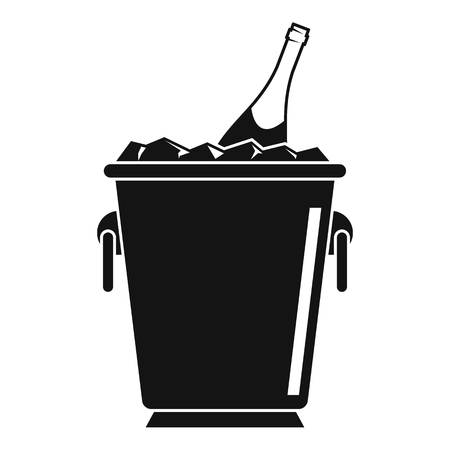 Champagne ice bucket icon, simple style Vectores
