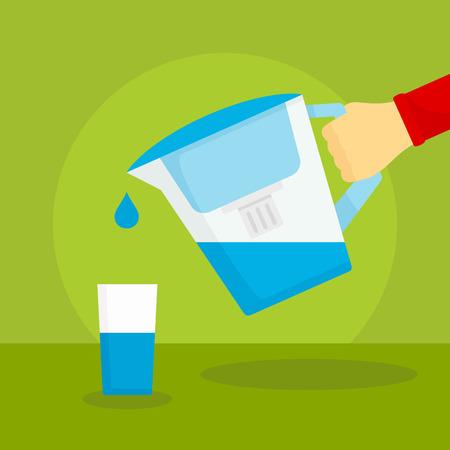 Water filter jug concept background. Flat illustration of water filter jug vector concept background for web design Иллюстрация