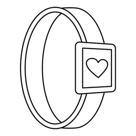 Smartwatch heart monitor icon. Outline smartwatch heart monitor vector icon for web design isolated on white background