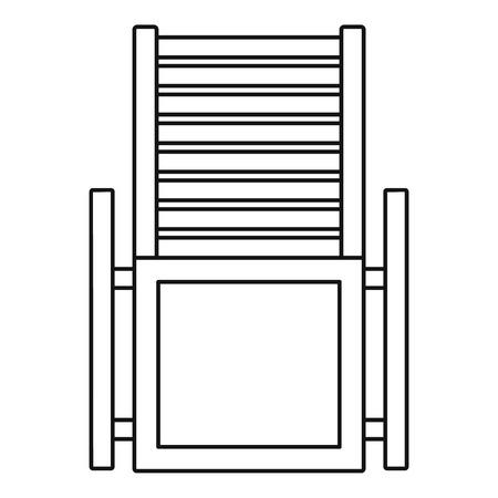 Icône de chaise longue en bois, style de contour
