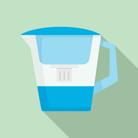 Filter water jug icon. Flat illustration of filter water jug vector icon for web design Çizim