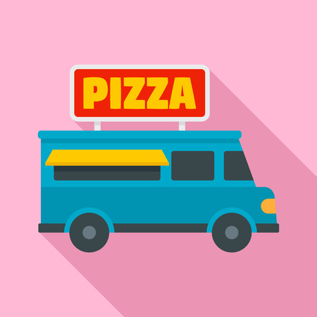 Pizza truck icon. Flat illustration of pizza truck vector icon for web design