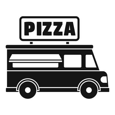 Pizza truck icon. Simple illustration of pizza truck vector icon for web design isolated on white background