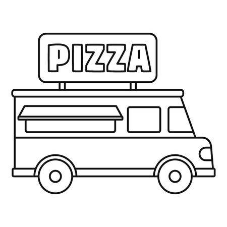 Pizza truck icon. Outline pizza truck vector icon for web design isolated on white background Çizim