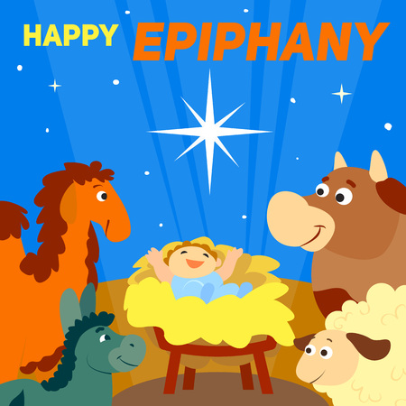 Happy epiphany concept background. Cartoon illustration of happy epiphany vector concept background for web design Illustration