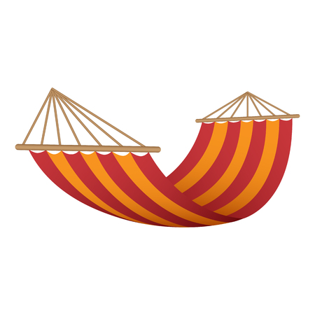 Red orange hammock icon. Realistic illustration of red orange hammock vector icon for web design Иллюстрация
