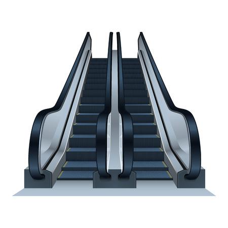 Double escalator icon. Realistic illustration of double escalator vector icon for web design Ilustração