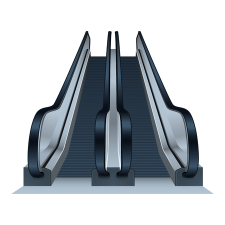 Double mall escalator icon. Realistic illustration of double mall escalator vector icon for web design