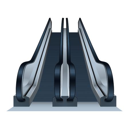 Double mall escalator icon. Realistic illustration of double mall escalator vector icon for web design