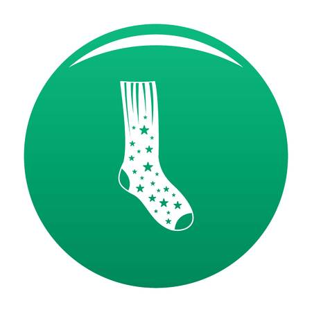 Sock with star icon vector green