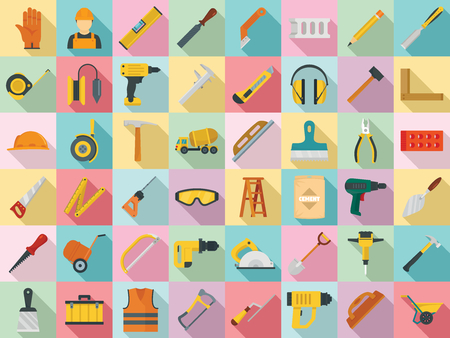 Masonry worker icon set. Flat set of masonry worker vector icons for web design