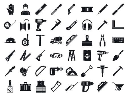 Zestaw ikon narzędzi pracownika murarskiego. Prosty zestaw ikon wektorowych narzędzi murarskich do projektowania stron internetowych na białym tle Ilustracje wektorowe