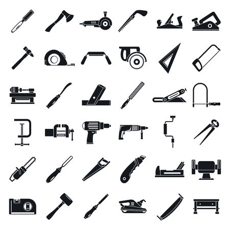 Carpenter construction icon set. Simple set of carpenter construction vector icons for web design on white background