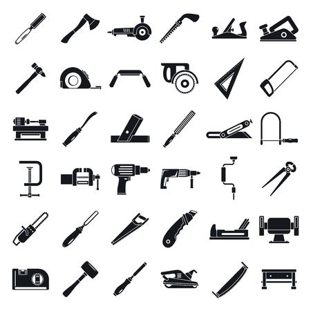 Carpenter construction icon set. Simple set of carpenter construction vector icons for web design on white background