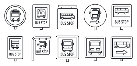 City bus stop sign icon set, outline style