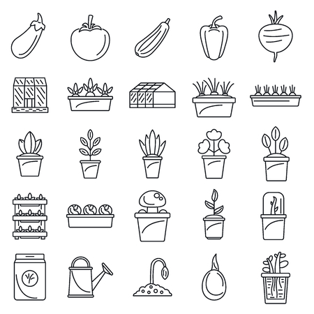 Greenhouse plant icon set. Outline set of greenhouse plant vector icons for web design isolated on white background