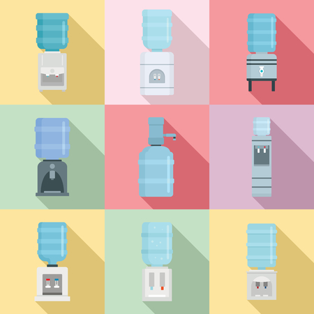 Cooler water icon set. Flat set of cooler water vector icons for web design Vettoriali