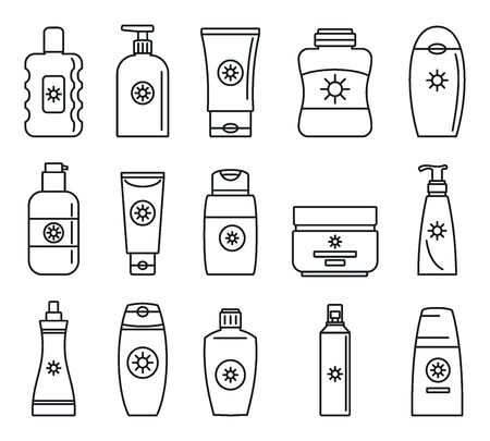 Sunscreen bottle icon set. Outline set of sunscreen bottle vector icons for web design isolated on white background 일러스트