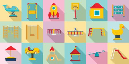 Kid playground icon set, flat style Stock Vector - 116744375
