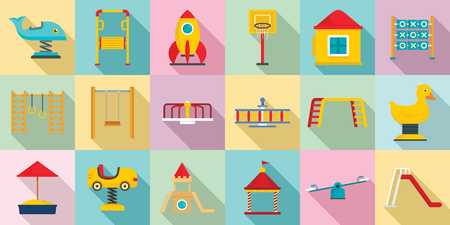 Kid playground icon set, flat style