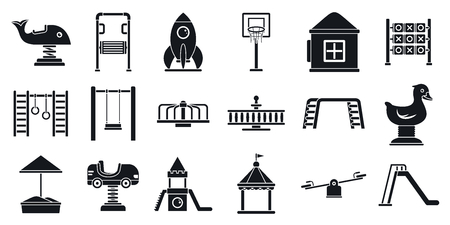 Outside kid playground icon set, simple style Illustration