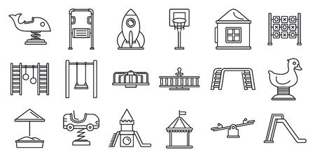 Park kid playground icon set, outline style