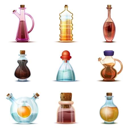 Conjunto de iconos de vinagre. Conjunto de dibujos animados de iconos de vector de vinagre para diseño web Ilustración de vector