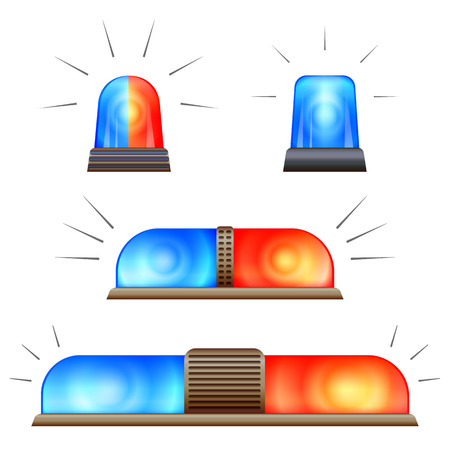 Alert flasher icon set. Cartoon set of alert flasher vector icons for web design