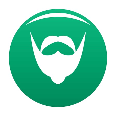 Big mustache and beard icon vector green