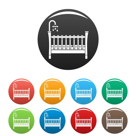 Baby crib icons set 9 color vector isolated on white for any design