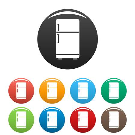 Retro fridge icons set 9 color vector isolated on white for any design 向量圖像