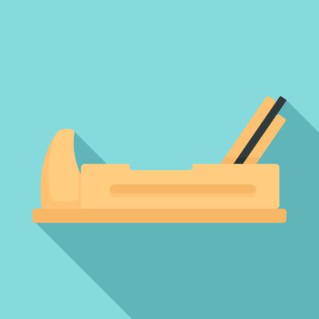 Wood jack plane icon, flat style Иллюстрация