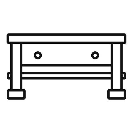 Carpenter work table icon. Outline carpenter work table vector icon for web design isolated on white background