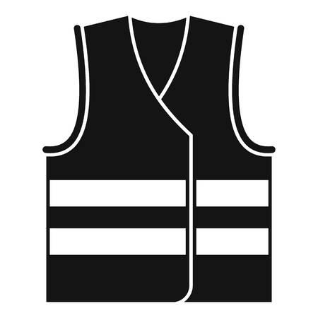 Icona di giubbotto di sicurezza. Semplice illustrazione del giubbotto di sicurezza icona vettoriali per il web design isolato su sfondo bianco