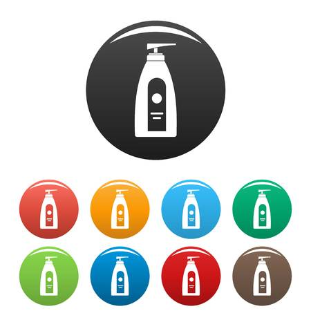 Uv dispenser cream icons set 9 color vector isolated on white for any design Illustration