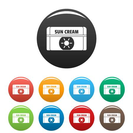 Sun cream icons set 9 color vector isolated on white for any design