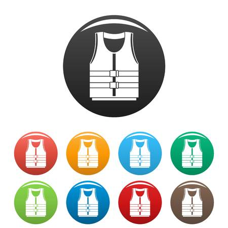 River canoe vest icons set color