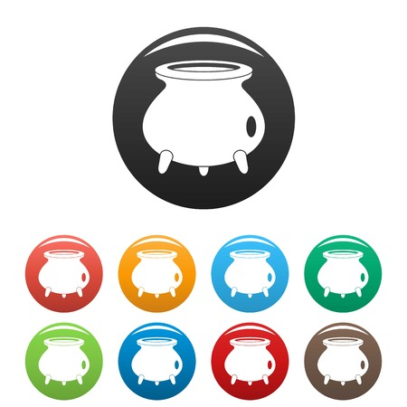 Retro cauldron icons set 9 color vector isolated on white for any design Illustration